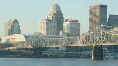 Louisville Skyline and Second Street Bridge 3 Stock Footage
