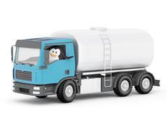 penguin oil tanker driver - stock illustration