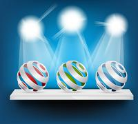background with spheres on shelf - stock illustration