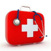 stethoscope and first aid kit - stock illustration