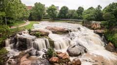 Falls Park on The Reedy River in Greenville, South Carolina Time Lapse Stock Footage