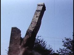 Chimney Topples Down In Cloud of Dust (Archive Footage) 1980s Stock Footage