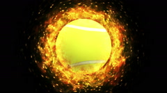 Fiery Tennis Ball Stock Footage