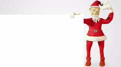 Santa claus with white blank board loopable animation 4k (4096x2304) Stock Footage
