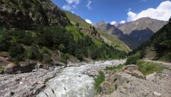 Mountain river in Nothern Caucasus Mountains Stock Footage
