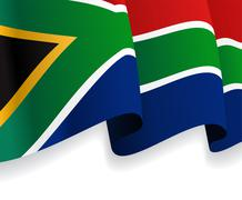 Background with waving South Africa Flag. Vector - stock illustration