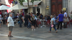 Toulon France street cafe man in crowd fast 4K 051 Stock Footage