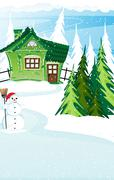 Brick  house and snowman with santa hat Stock Illustration