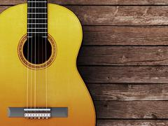 Acoustic guitar on wood background Piirros