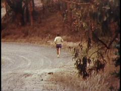 Bushfire, Man Runs to Save Animals (Archive Footage) 1980s Stock Footage