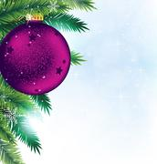 Christmas decoration on blue sparkling background Stock Illustration