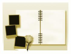 Open diary or photo album with vintage instant photos - stock illustration