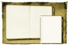 Open diary or photo album in vintage style - stock illustration