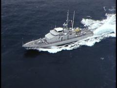 Aerial Shot of Navy/Army Boat Stock Footage