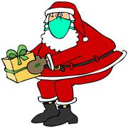 Santa wearing a face mask Stock Illustration