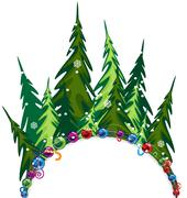 Fir forest with christmas decorations Stock Illustration