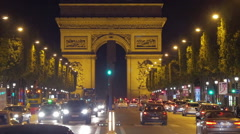 Paris street at night, France Stock Footage