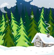 Old brick house in the winter wood Stock Illustration