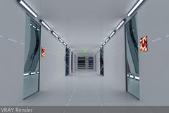 Ultra Modern Futuristic Data Center 3D Model