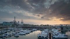 El forum port harbour sunrise barcelona boats 4k Stock Footage
