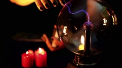 Tarot Cards, Woman Hand and Electric Sphere in Candle Light Stock Footage