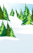Snow covered pine forest Stock Illustration