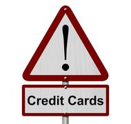 Credit cards caution sign Stock Illustration