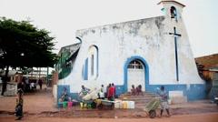 Africa christian church Bandim street city market Bissau Guinea Bisseau Stock Footage