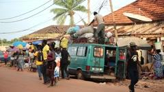 Africa Bandim street city market Bissau Guinea Bisseau Stock Footage