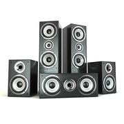 Group of audio speakers. loudspeakers isolated on white. Piirros