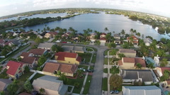 Suburban waterfront homes - stock footage