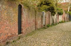 Characteristic medieval lane in the city of Veere in the Netherlands - stock photo