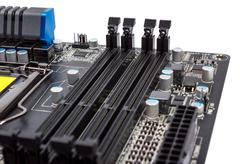 Electronic collection - digital components on computer motherboard with ram c Stock Photos