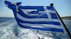 greece flag on the ship - stock footage