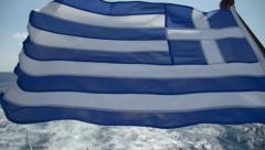 Greece flag on the ship Stock Footage