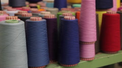 Colorful clews in a textile industry Stock Footage
