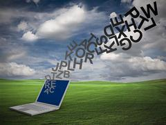 letters from laptop - stock illustration
