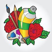 Palette with paint, brushes and spray paint in roses Piirros