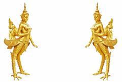 Thai art kinnaree statue : the mythical half bird half woman Stock Photos
