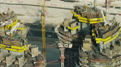 Stock Video Footage of Aerial construction cranes high Dubai development UAE