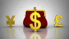 World Currencies Rotate Around Purse Stock Footage