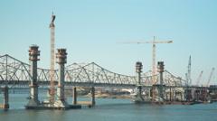 Louisville Downtown Bridge Construction Timelapse 1 Stock Footage