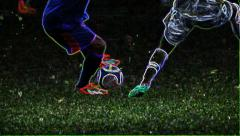 Soccer players fighting for the ball - Neon effect Stock Footage