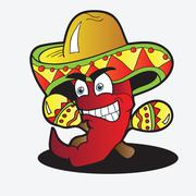 illustration of a chili character with a pair of maracas - stock illustration