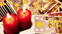 Mystic Tarot Cards and Burning Candles Reading Future Arkistovideo