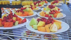 Serving fruits plate - stock footage
