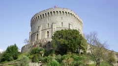 Windsor Castle Round Tower, London Stock Footage
