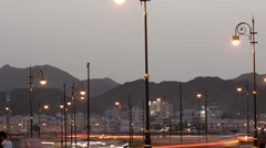 Stock Video Footage of Timelapse of Traffic on the Corniche in Muscat