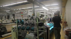 Looms working in a Textile factory Stock Footage