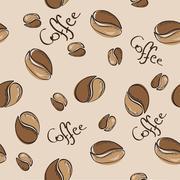 Coffee beans seamless pattern - vector illustration Stock Illustration